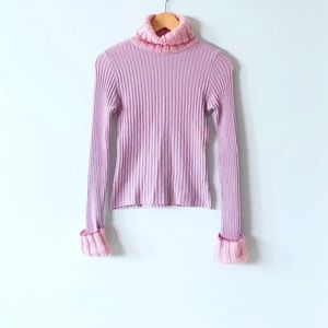 Pink Turtle Neck Wool Blend Slim Fit Sweater XS/S